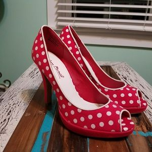 Anne Michelle Polka Dot Peep Toe Heels